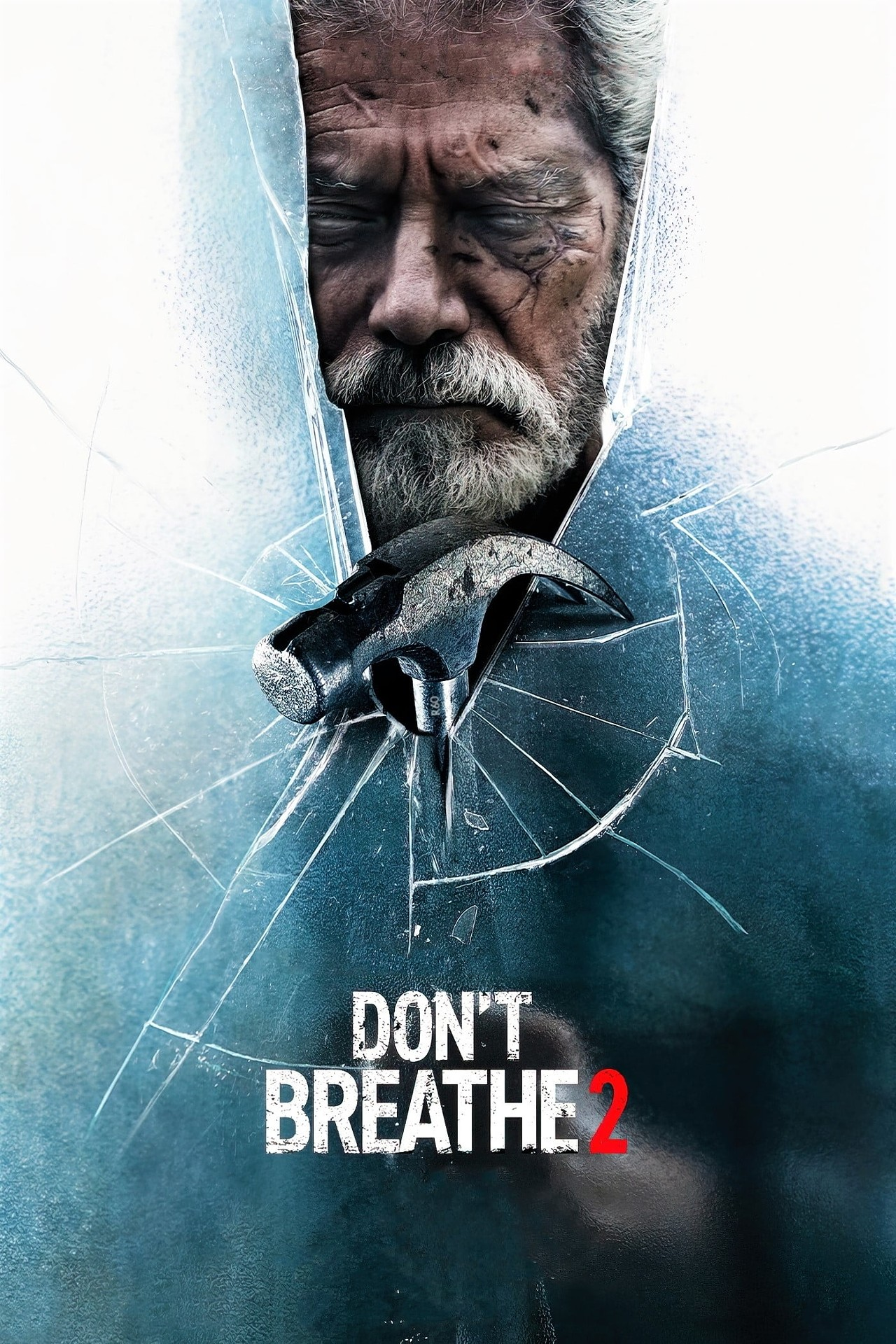 """A poster for """"Don't Breathe 2"""" of Nordstrom behind glass with a hammer"""
