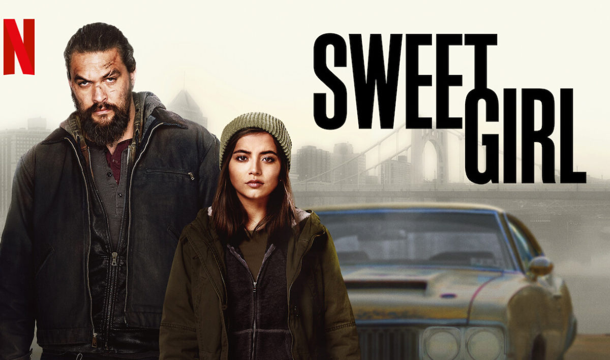 """A promotional image for """"Sweet Girl"""" of Ray and Rachel standing behind him"""