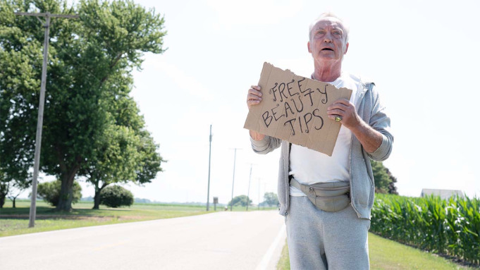 After ditching his assisted living center, Pat (Udo Kier) attempts to hitch a ride to downtown Sandusky.