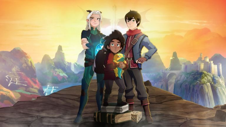 Image from TV series The Dragon Prince of the three main characters