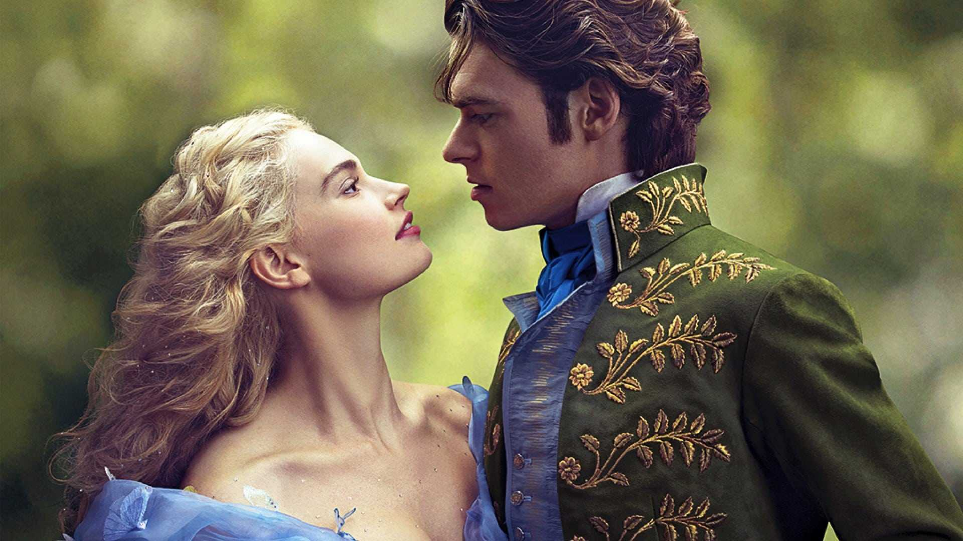 A still from 'Cinderella' 2015 of Cinderella and the prince looking at each other