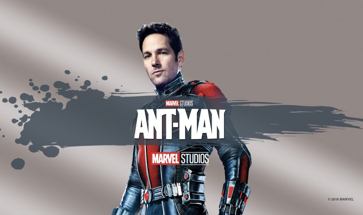 This image shows Scott Lang as the protagonist of Ant-Man, along with the Ant-Man title