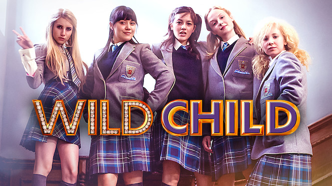 This image shows Poppy and her roommates at her new boarding school in England, along with the title Wild Child