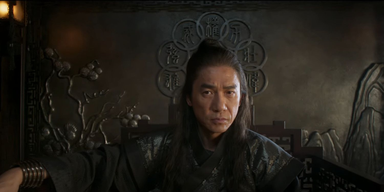 A still from 'Shang-Chi' of Tony Leung as Wenwu/the Mandarin on his throne