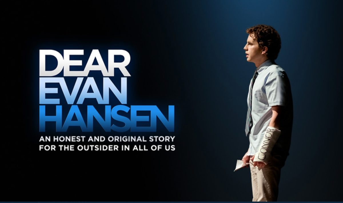 """A promotional image for """"Dear Evan Hansen"""" of Evan alone onstage, the title next to him"""