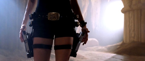 close-up of lara's thighs with guns strapped on them