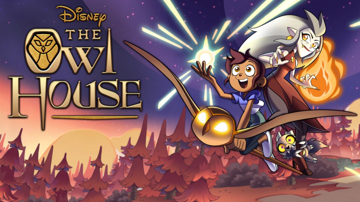 A promo image from 'The Owl House' of Luz, Eda, and King riding on the staff