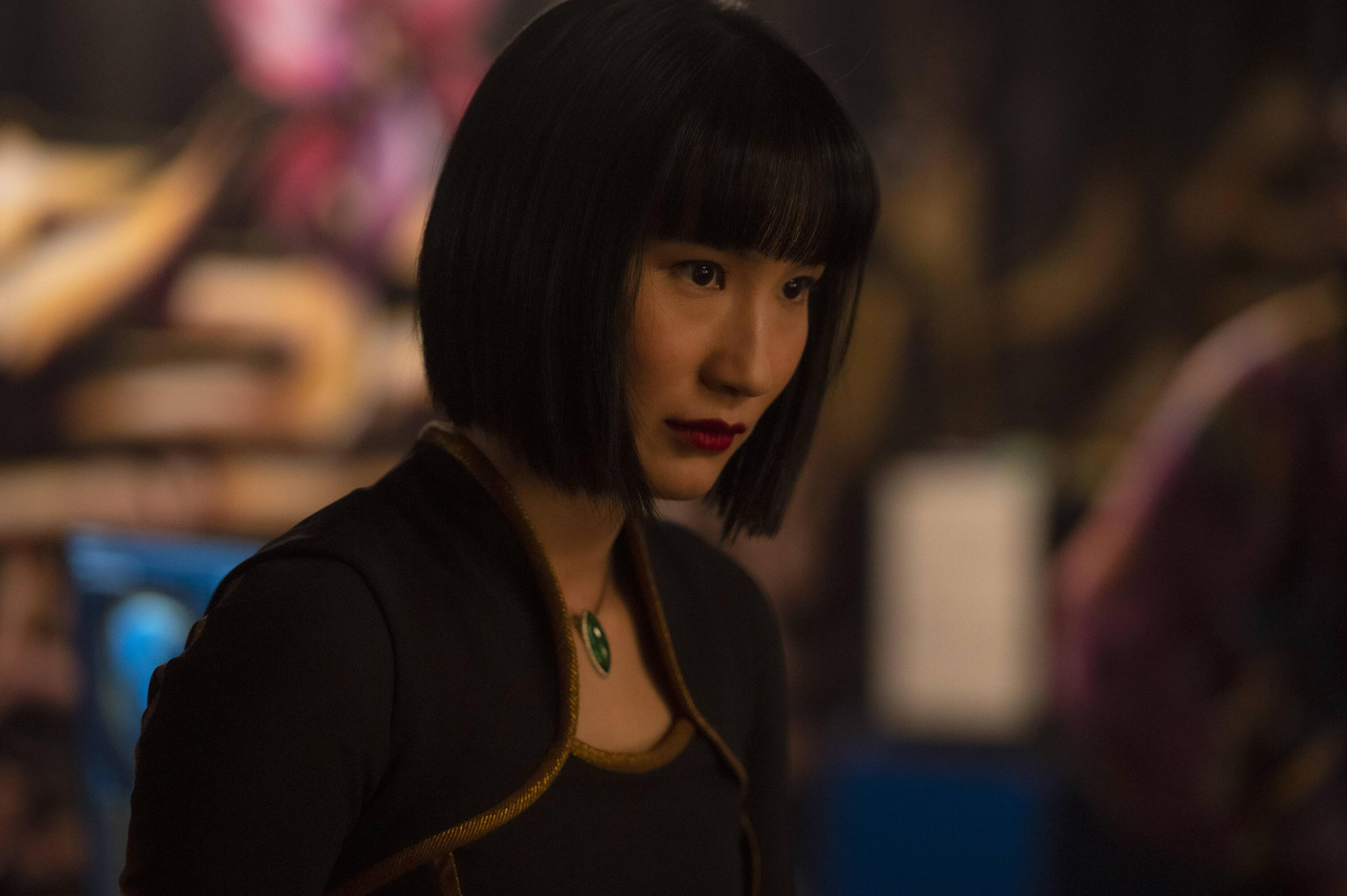 A still from 'Shang-Chi' of Xialing standing in the fight club