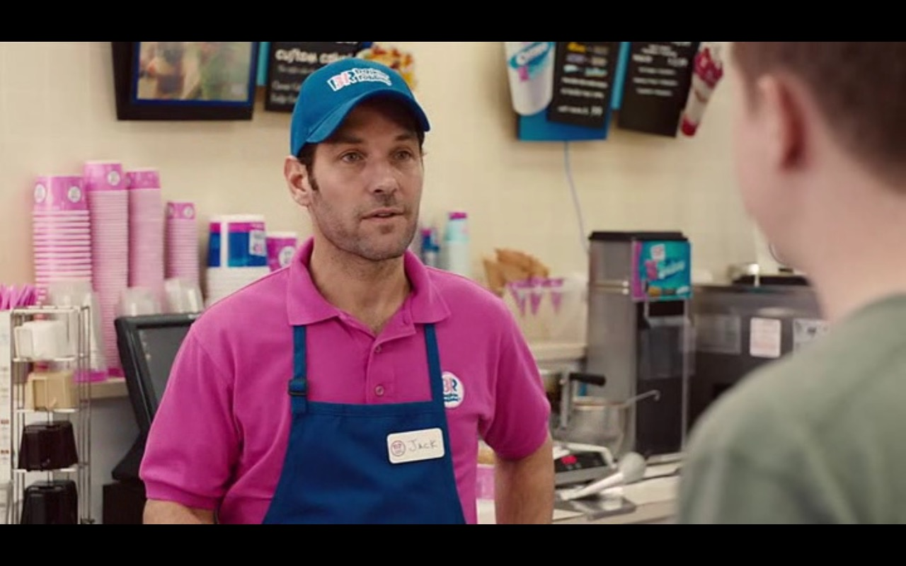 """A still from """"Ant-Man"""" of Scott Lang working at Baskin Robbins"""