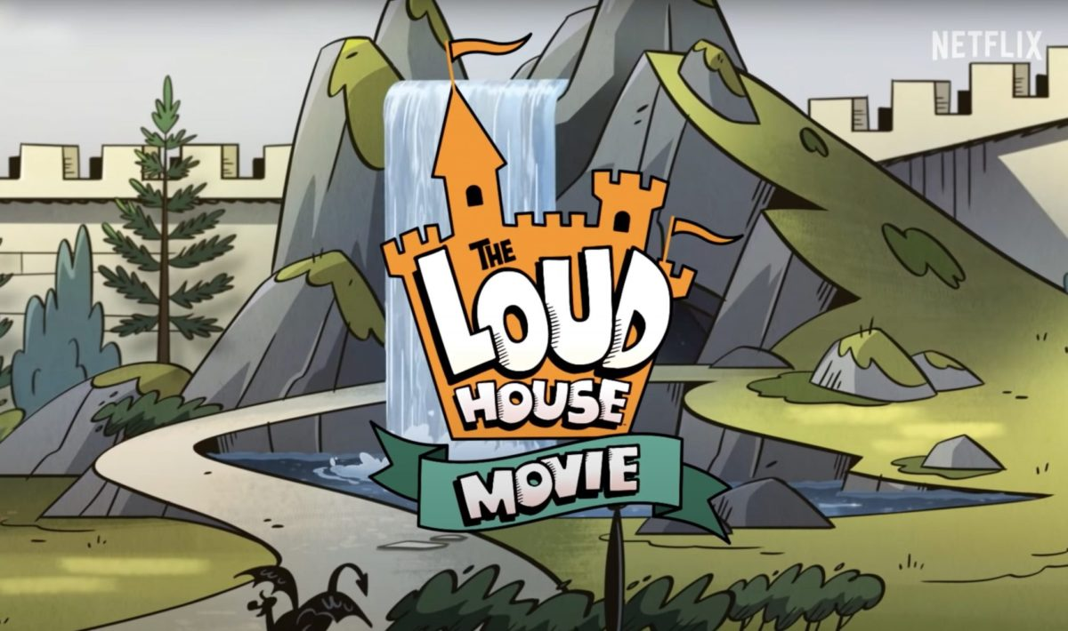 This image shows the logo for The loud House Movie, along with a background image of Scotland