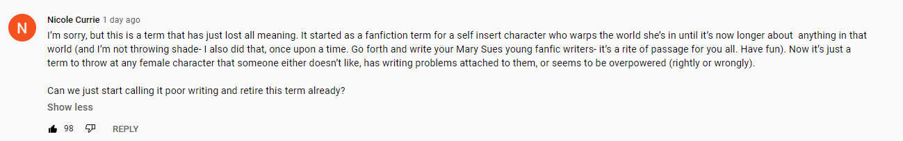 Nicole Currie offers a new take on the Mary Sue: she's not hurting anyone.