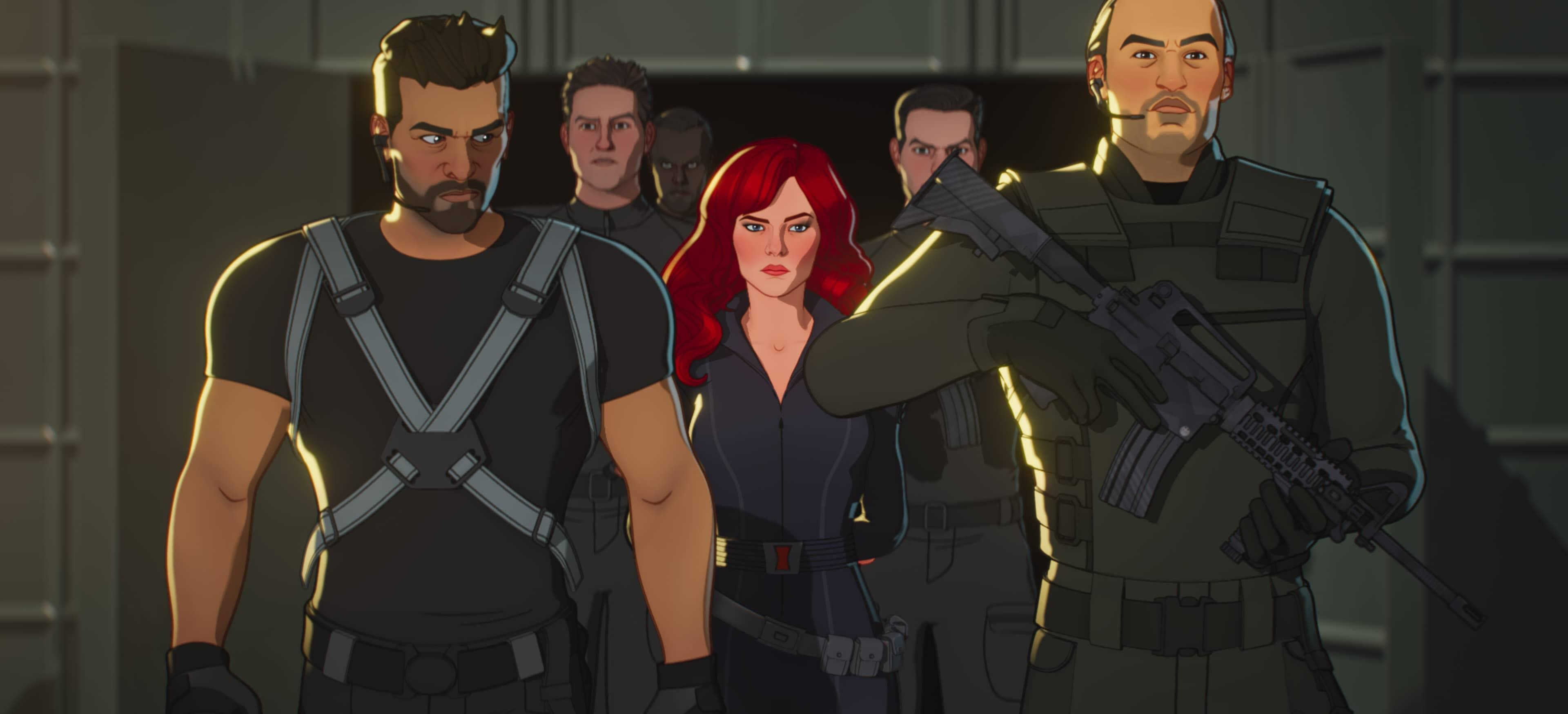 A still from Marvel's What If...? of Natasha surrounded by guards