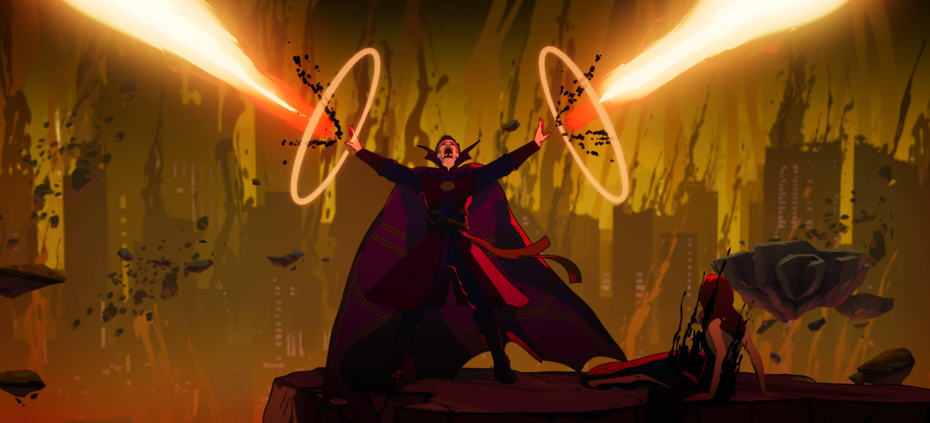 A still from Marvel's What If...? of Doctor Strange Supreme shooting magic as he tries to save his world