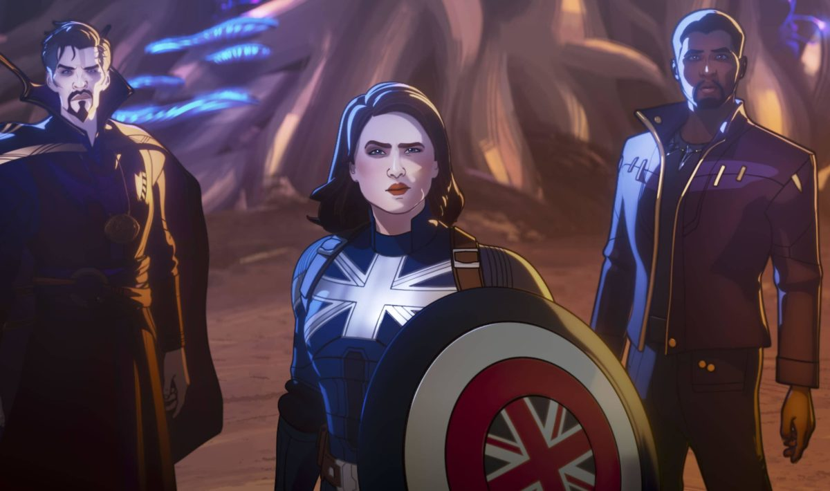 A still from Marvel's What If...? of Doctor Strange Supreme, Captain Carter, and T'Challa Starlord looking up