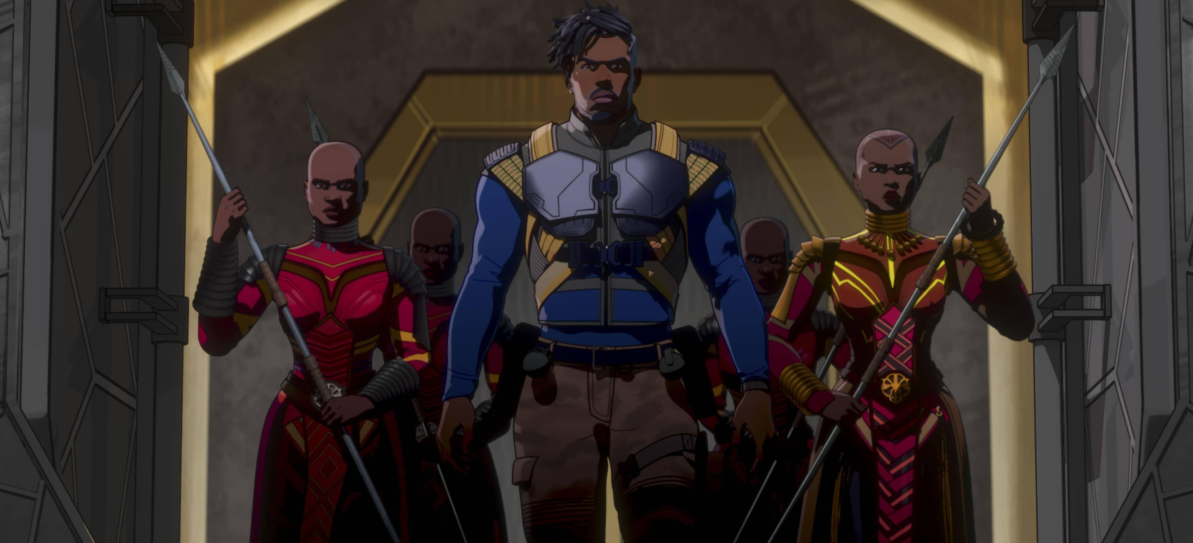 A still from Marvel's What If...? of Killmonger entering Wakanda's throne room surrounded by Dora Milaje
