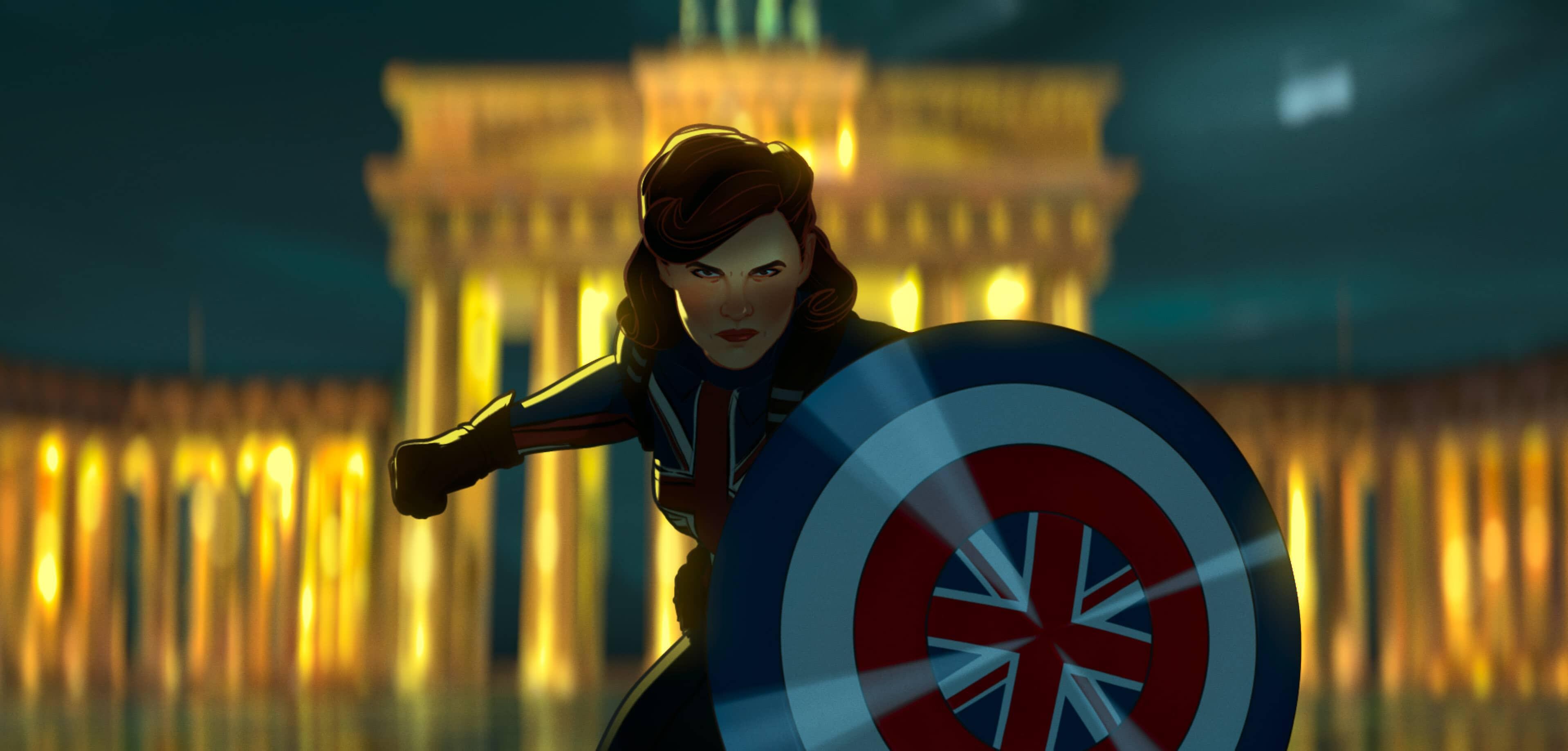 A still from Marvel's What If...? of Peggy Carter as Captain Britain with her shield