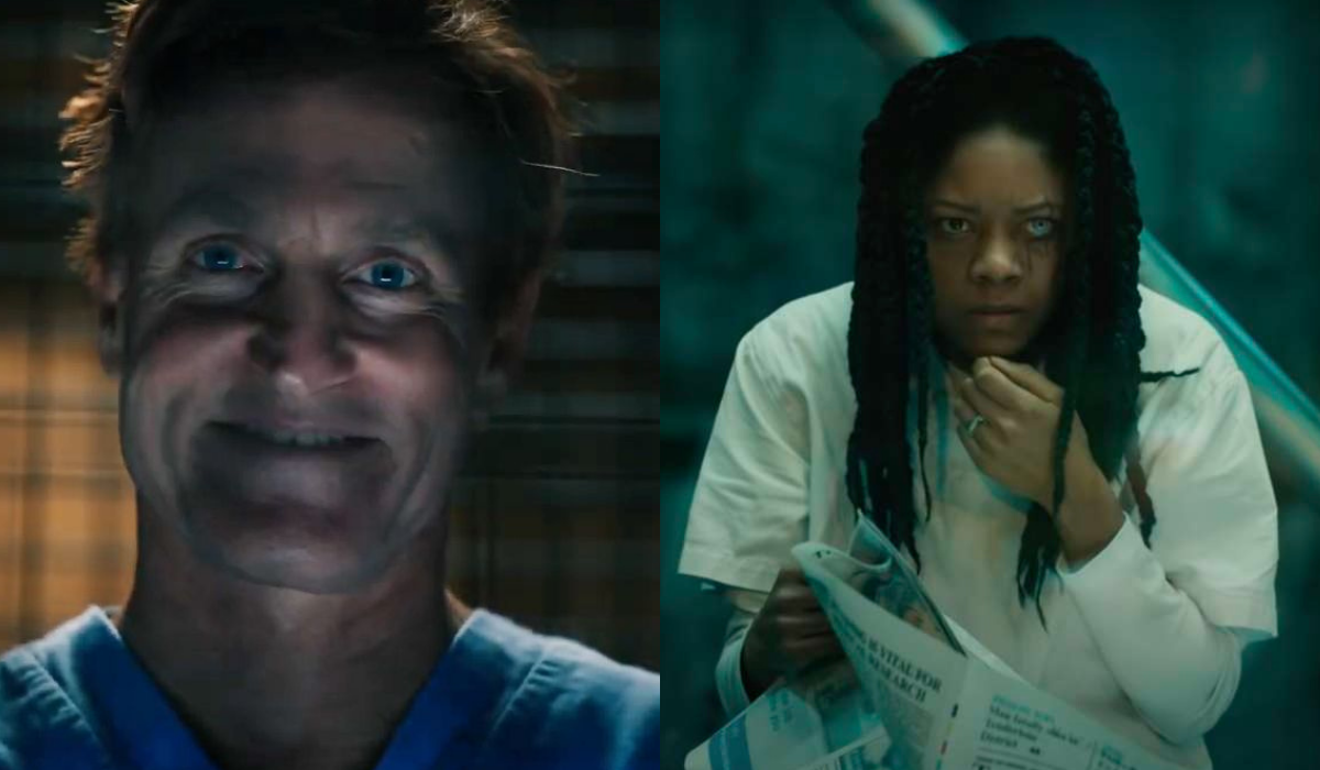 """Two stills side by side from """"Venom: Let There Be Carnage"""" of Cletus (left) and Shriek (right) in their holding cells"""
