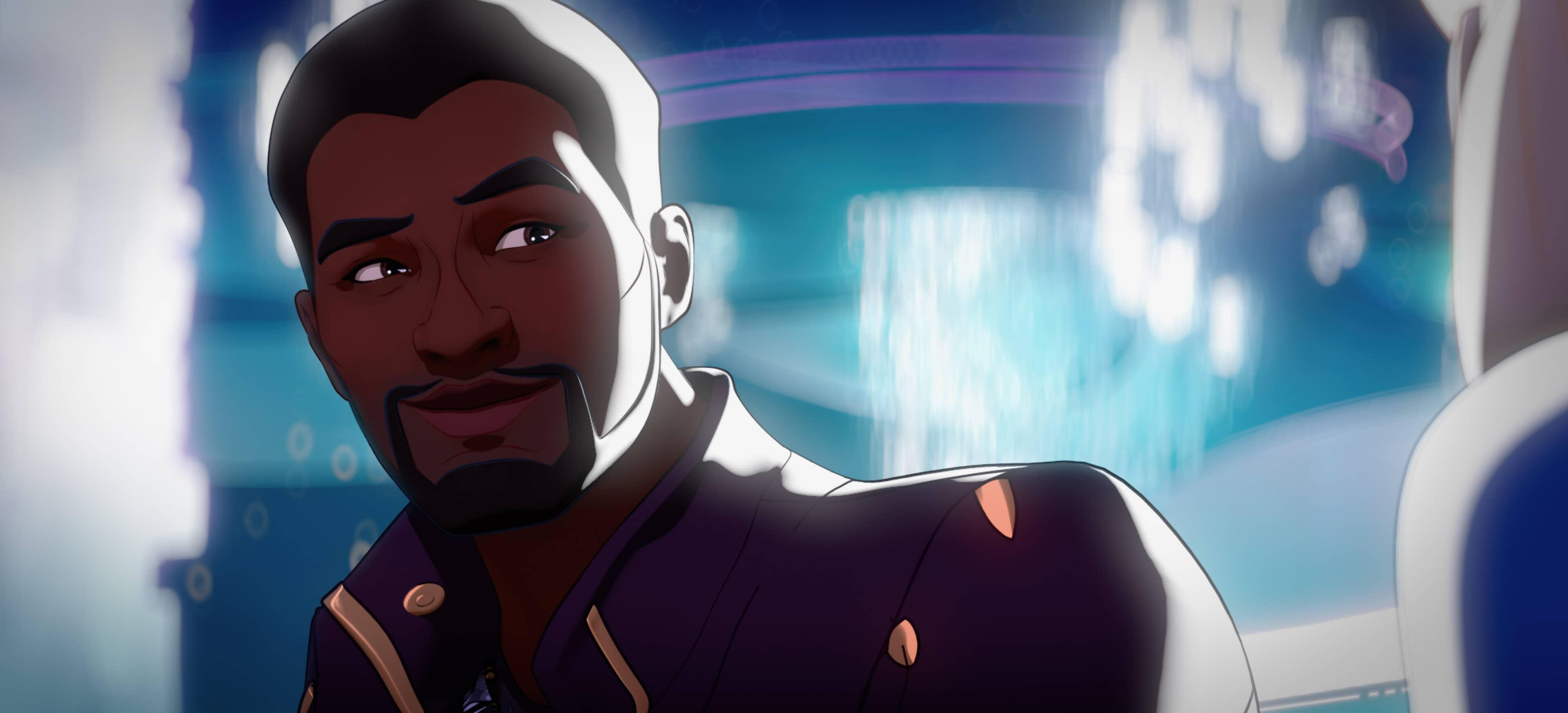 A still from Marvel's What If...? of T'Challa Starlord smiling
