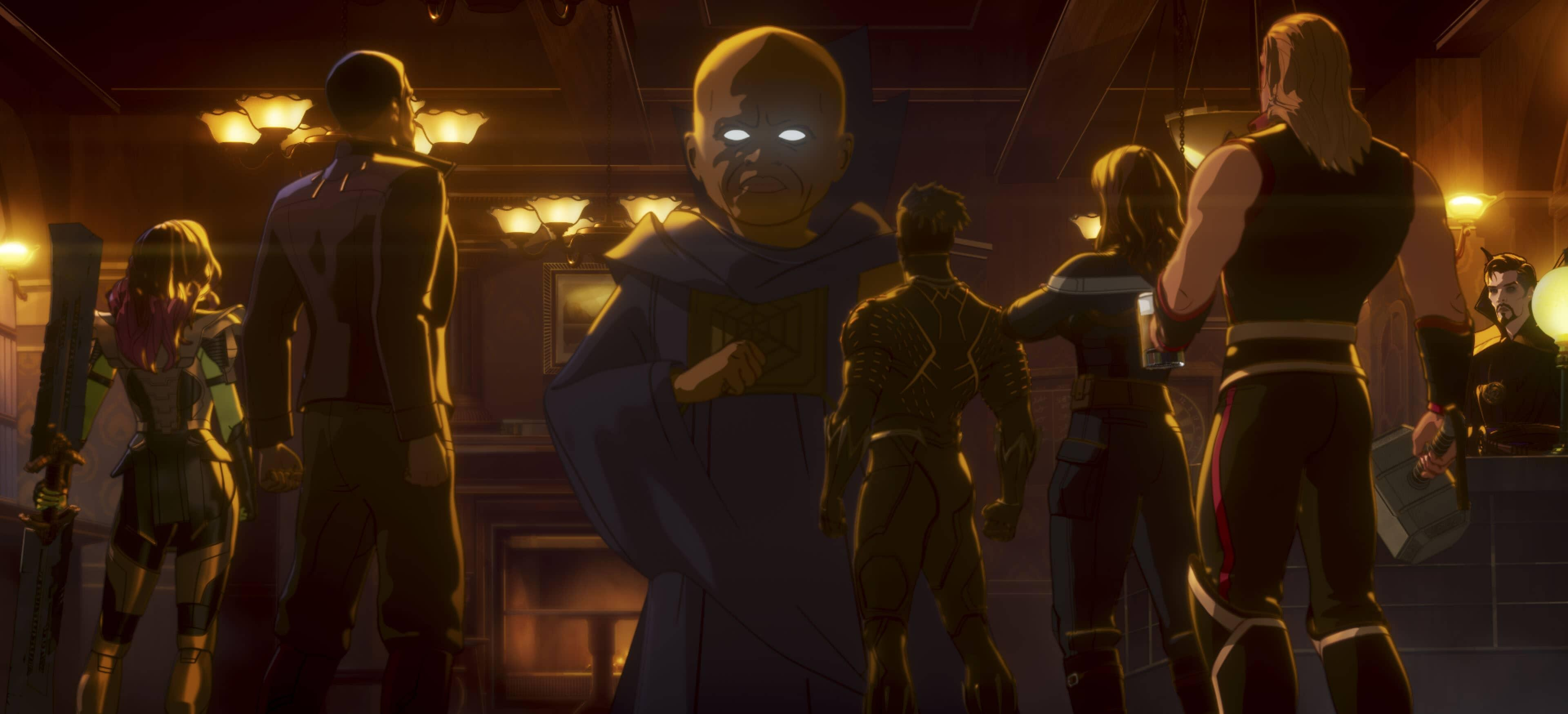 A still from Marvel's What If...? of the Watcher looking over his new team in a bar