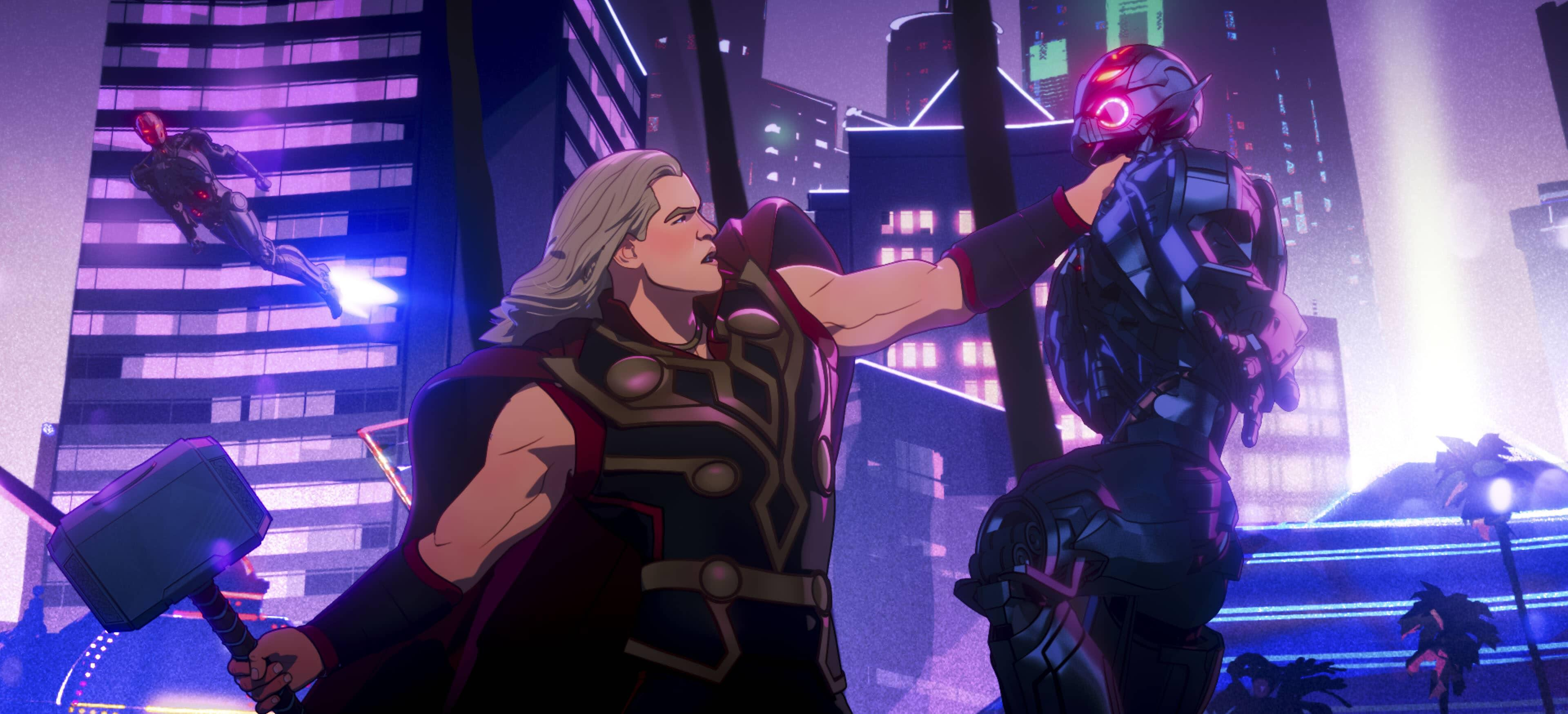 A still from Marvel's What If...? of Thor battling an Ultron drone