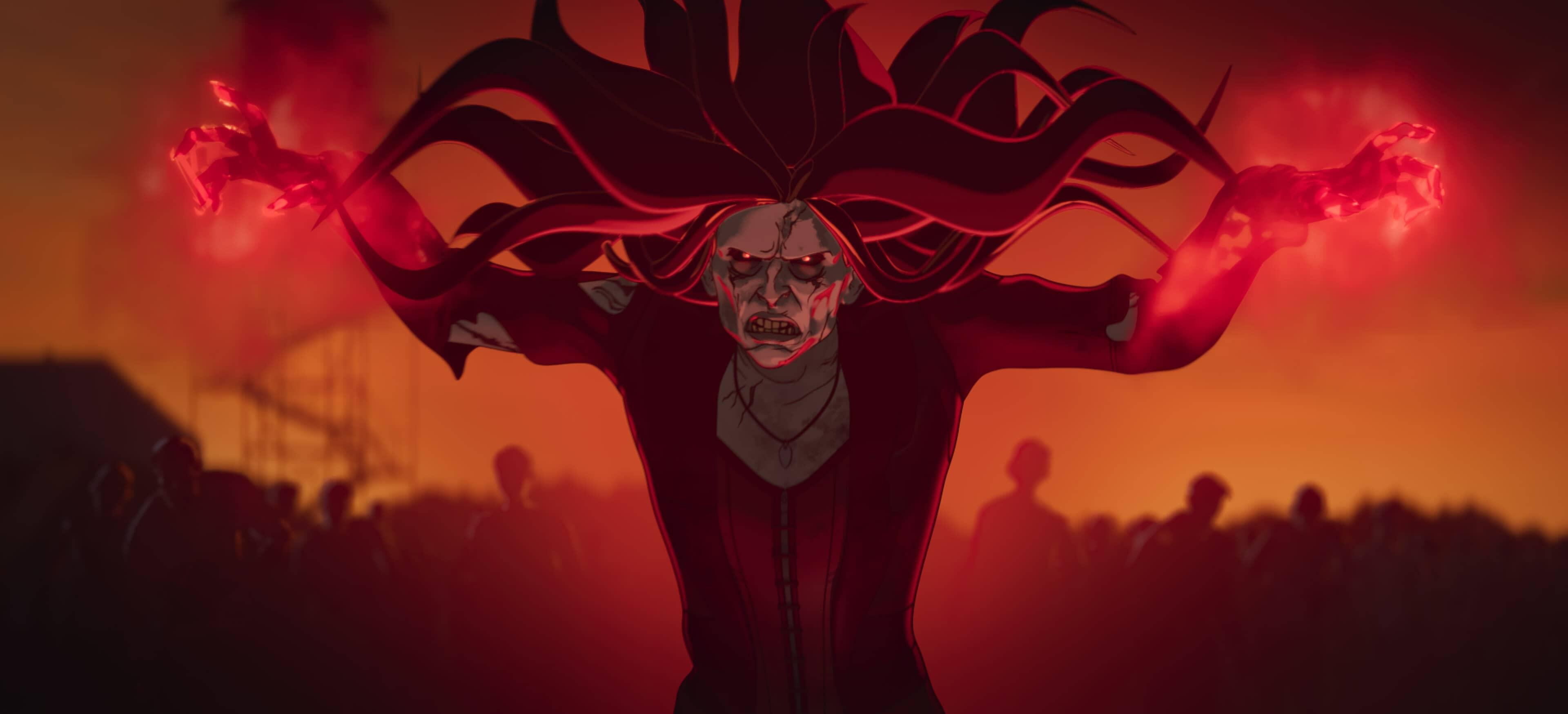 A still from Marvel's What If...? of Zombie Wanda using red magic