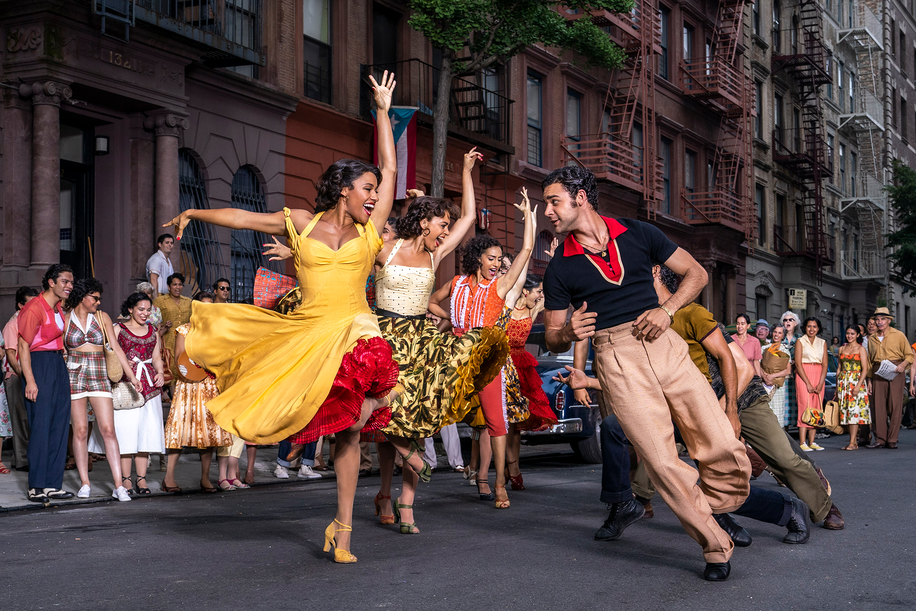 """A still from """"West Side Story"""" of the Puerto Rican characters dancing"""